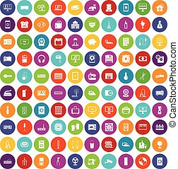 100 appliances icons set color