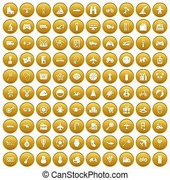 100, apró, helyett, gyerekek, ikonok, állhatatos, arany