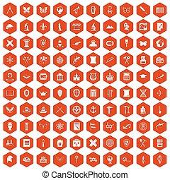 100 archeology icons hexagon orange