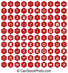 100 archeology icons hexagon red