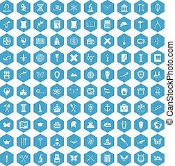 100 archeology icons set blue