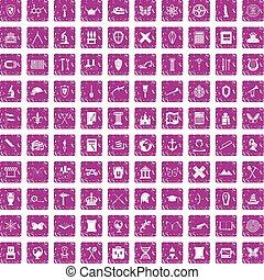 100 archeology icons set grunge pink