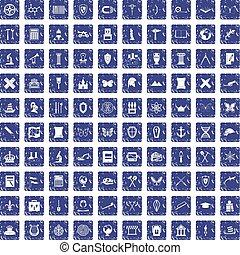 100 archeology icons set grunge sapphire