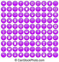 100 archeology icons set purple