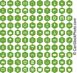 100 architecture icons hexagon green