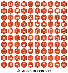 100 architecture icons hexagon orange