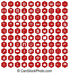 100 architecture icons hexagon red