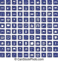 100 architecture icons set grunge sapphire