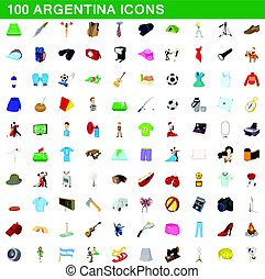 100 argentina icons set, cartoon style