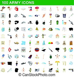 100 army icons set, cartoon style
