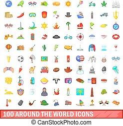 100 around the world icons set, cartoon style