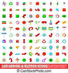 100 arrow and button icons set, cartoon style