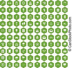 100 arrow icons hexagon green