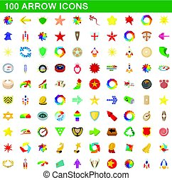 100 arrow icons set, cartoon style