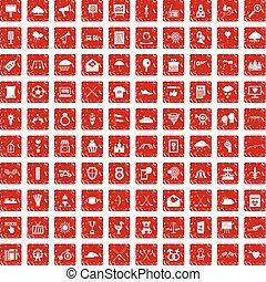 100 arrow icons set grunge red