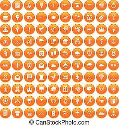 100 arrow icons set orange