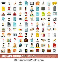 100 art guidance icons set, flat style