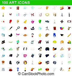 100 art icons set, cartoon style