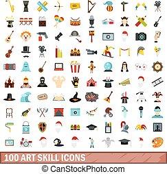 100 art skill icons set, flat style