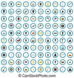 100 artefact icons set, flat style - 100 artefact icons set ...