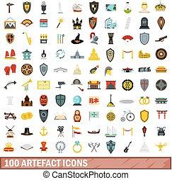 100 artefact icons set, flat style