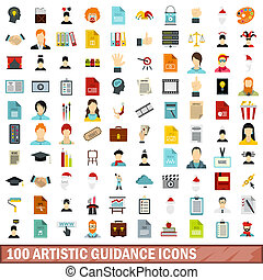 100 artistic guidance icons set, flat style