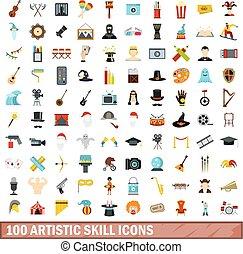 100 artistic skill icons set, flat style