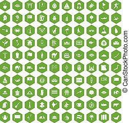 100 Asia icons hexagon green