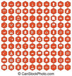 100 Asia icons hexagon orange