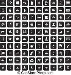 100 Asia icons set black