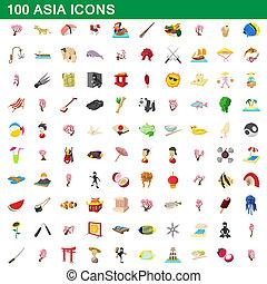 100 asia icons set, cartoon style