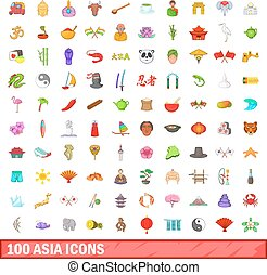 100 Asia icons set, cartoon style