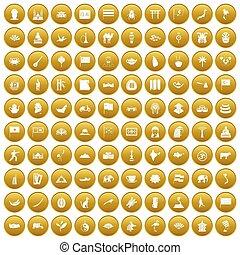 100 Asia icons set gold
