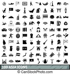 100 Asia icons set, simple style