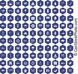 100 asian icons hexagon purple