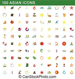 100 asian icons set, cartoon style