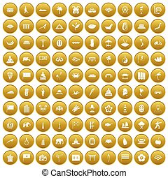100 asian icons set gold