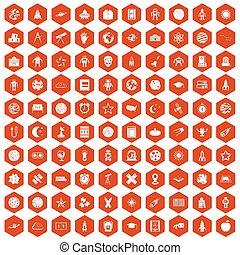 100 astronomy icons hexagon orange