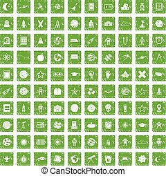 100 astronomy icons set grunge green