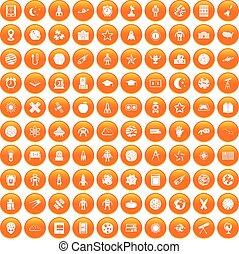 100 astronomy icons set orange