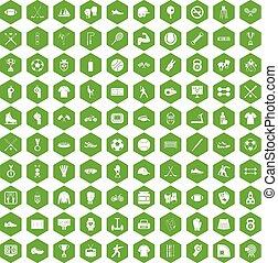 100 athlete icons hexagon green - 100 athlete icons set in...