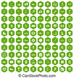 100 athlete icons hexagon green