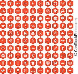 100 athlete icons hexagon orange - 100 athlete icons set in...