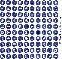 100 athlete icons hexagon purple - 100 athlete icons set in...