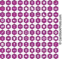 100 athlete icons hexagon violet - 100 athlete icons set in...
