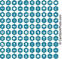 100 athlete icons sapphirine violet - 100 athlete icons set...