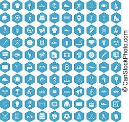 100 athlete icons set blue