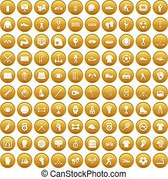 100 athlete icons set gold - 100 athlete icons set in gold...