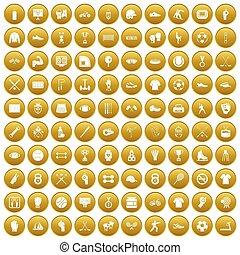 100 athlete icons set gold