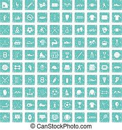 100 athlete icons set grunge blue - 100 athlete icons set in...